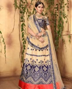 Printed Satin Lehenga in Cream
