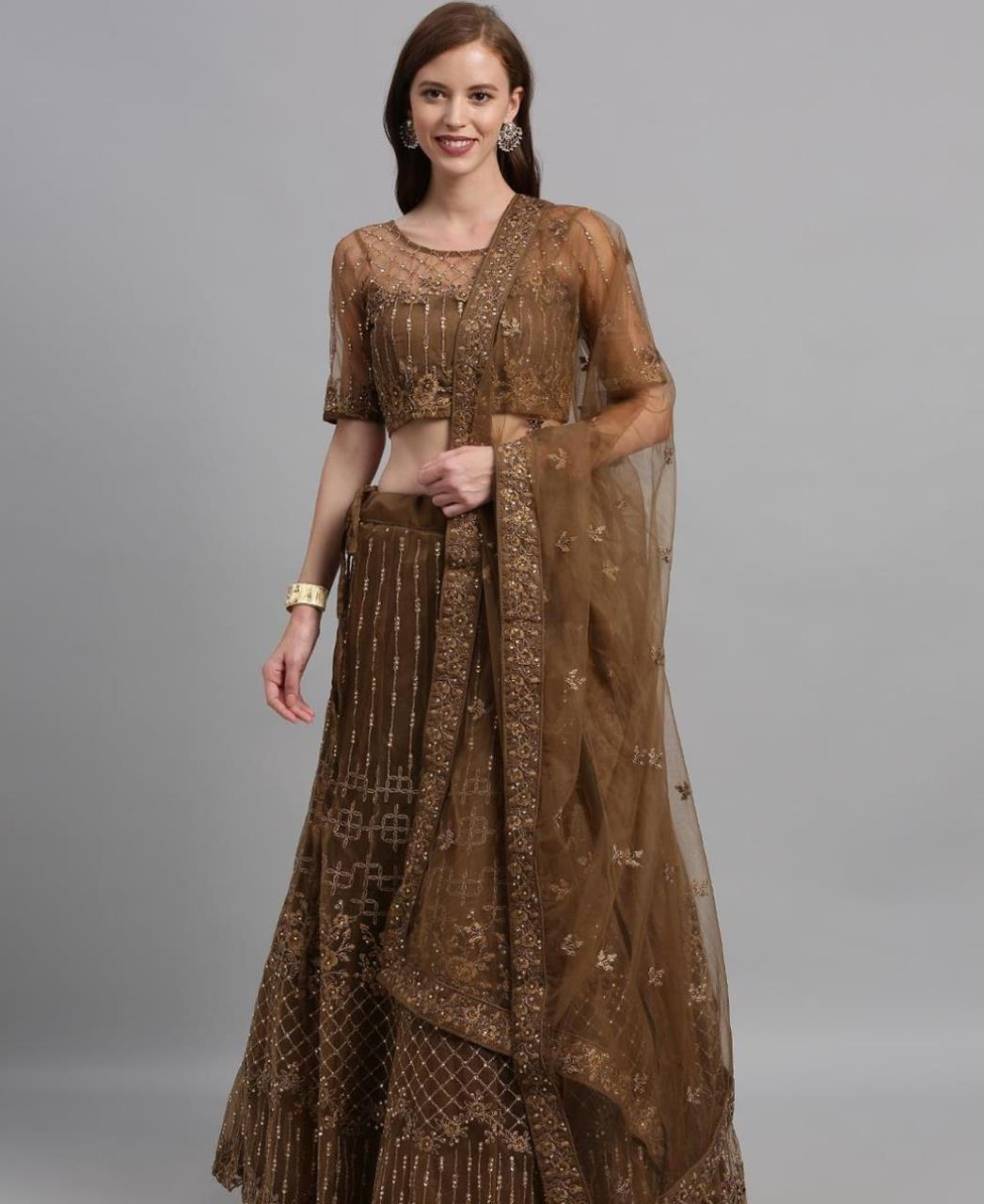 Net Lehenga in Brown