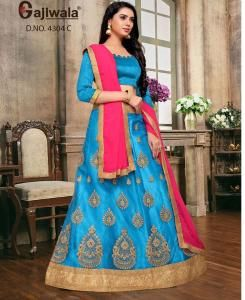 Embroidered Satin SKYBLUE Circular Lehenga Choli