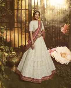 Thread Net Lehenga in White