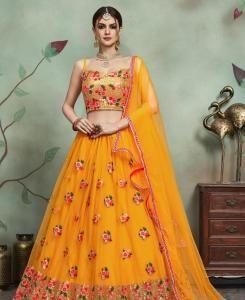 Sequins Net Yellow Circular Lehenga Choli