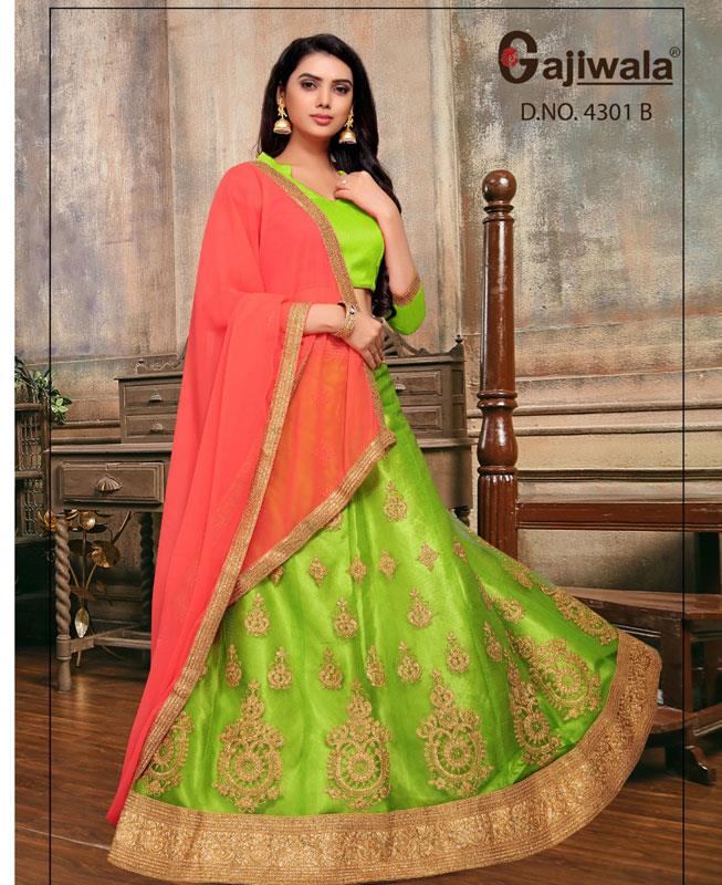 Embroidered Satin LimeGreen Circular Lehenga Choli