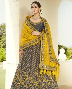 Stone Work Silk Lehenga in Dark Grey