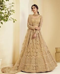 Stone Work Satin Lehenga in Golden