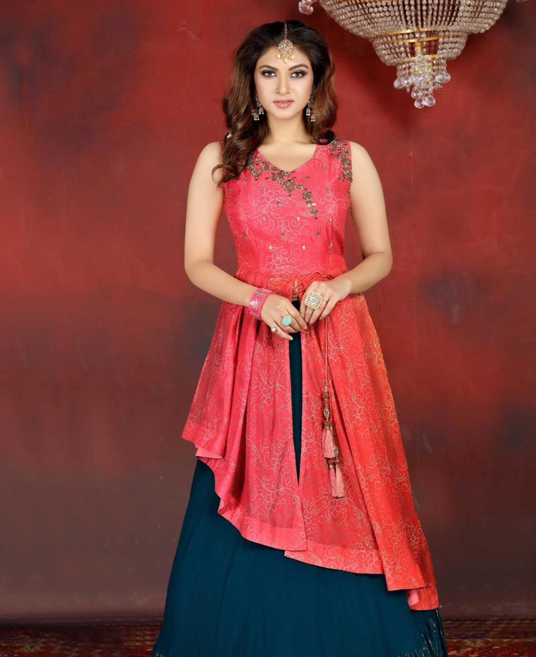Embroidered Georgette Lehenga in Pink  ,  Teal