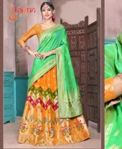 Printed Silk Lehenga in Orange