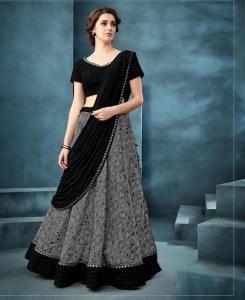 Embroidered Silk Lehenga in Black