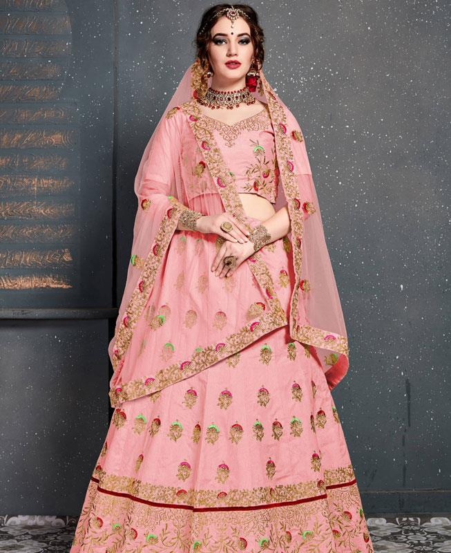 Thread Work Silk Pink Circular Lehenga Choli