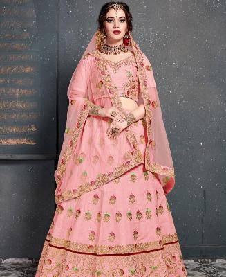 Thread Work Silk Pink Circular Lehenga Choli