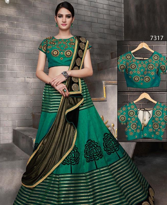 Printed Silk Green Circular Lehenga Choli Ghagra