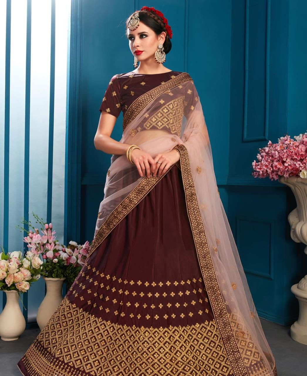 Embroidered Satin Brown Circular Lehenga Choli Ghagra
