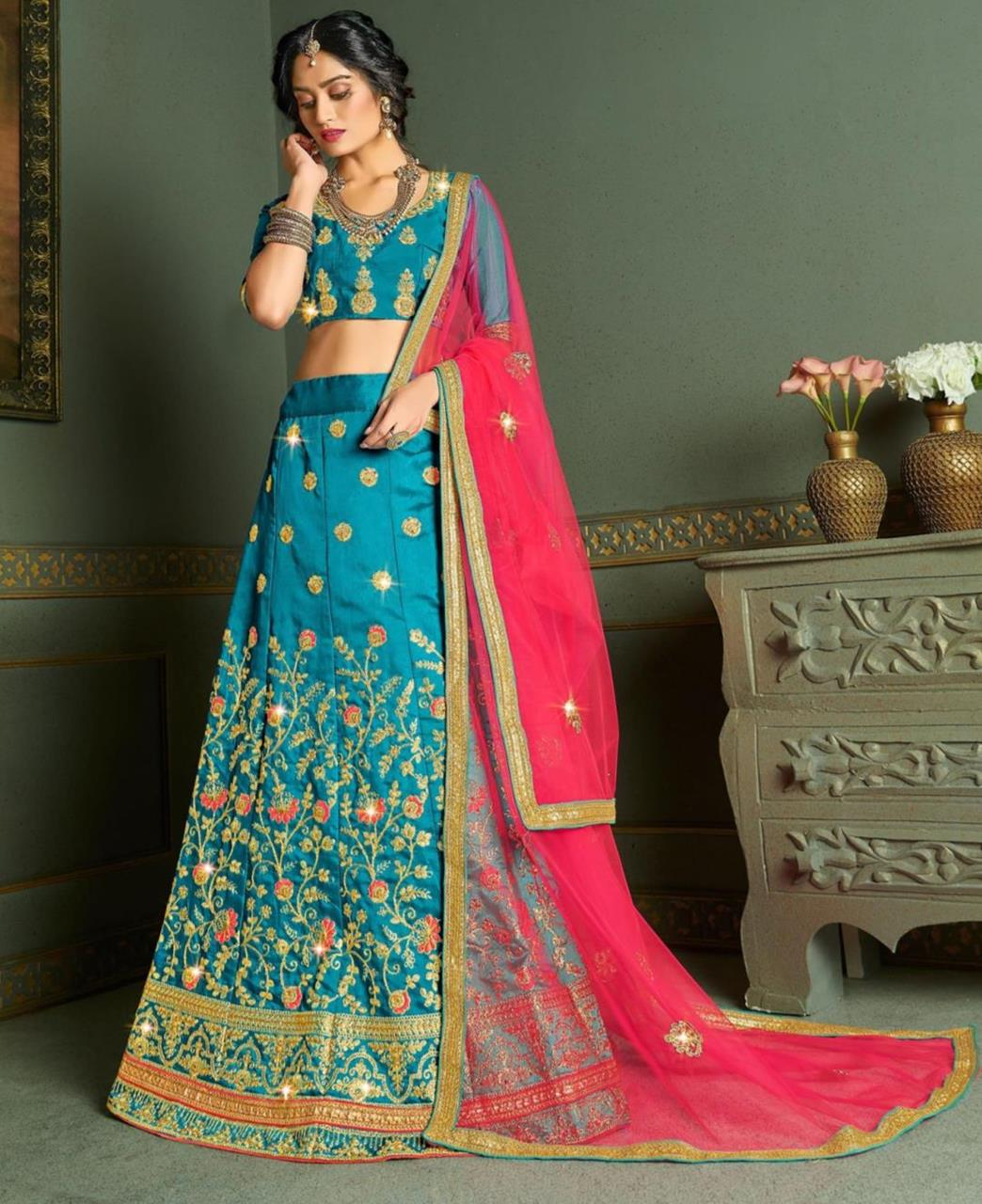 Embroidered Satin Lehenga in Sky Blue