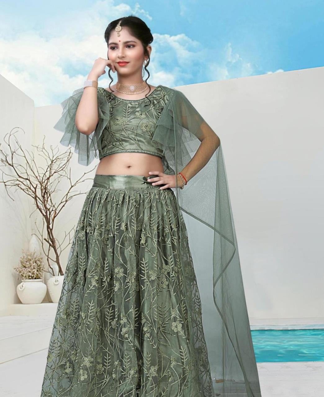Embroidered Net Lehenga in Camouflage Green