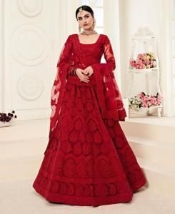 Embroidered Net Red Circular Lehenga Choli