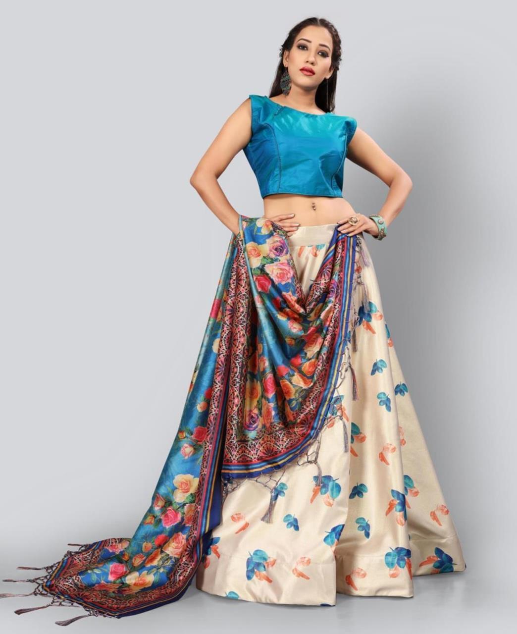 Printed Satin Lehenga in Blue