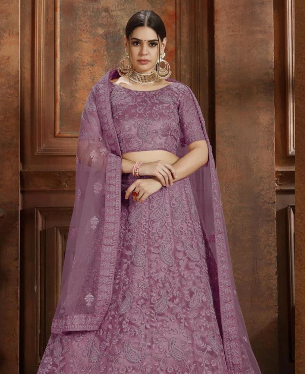 Embroidered Net Purple Circular Lehenga Choli