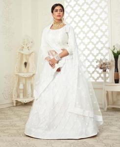 Stone Work Silk Lehenga in White