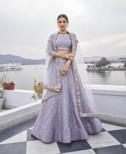 HandWorked Silk Lehenga in Lavender