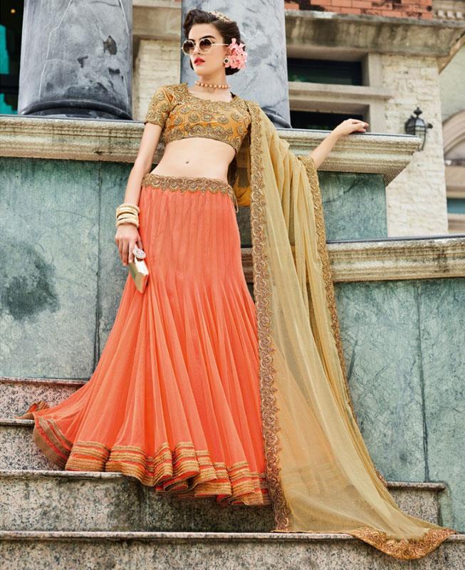 Plain Net Orange Fish Cut Lehenga Choli Ghagra