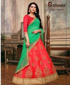Embroidered Satin Red Circular Lehenga Choli