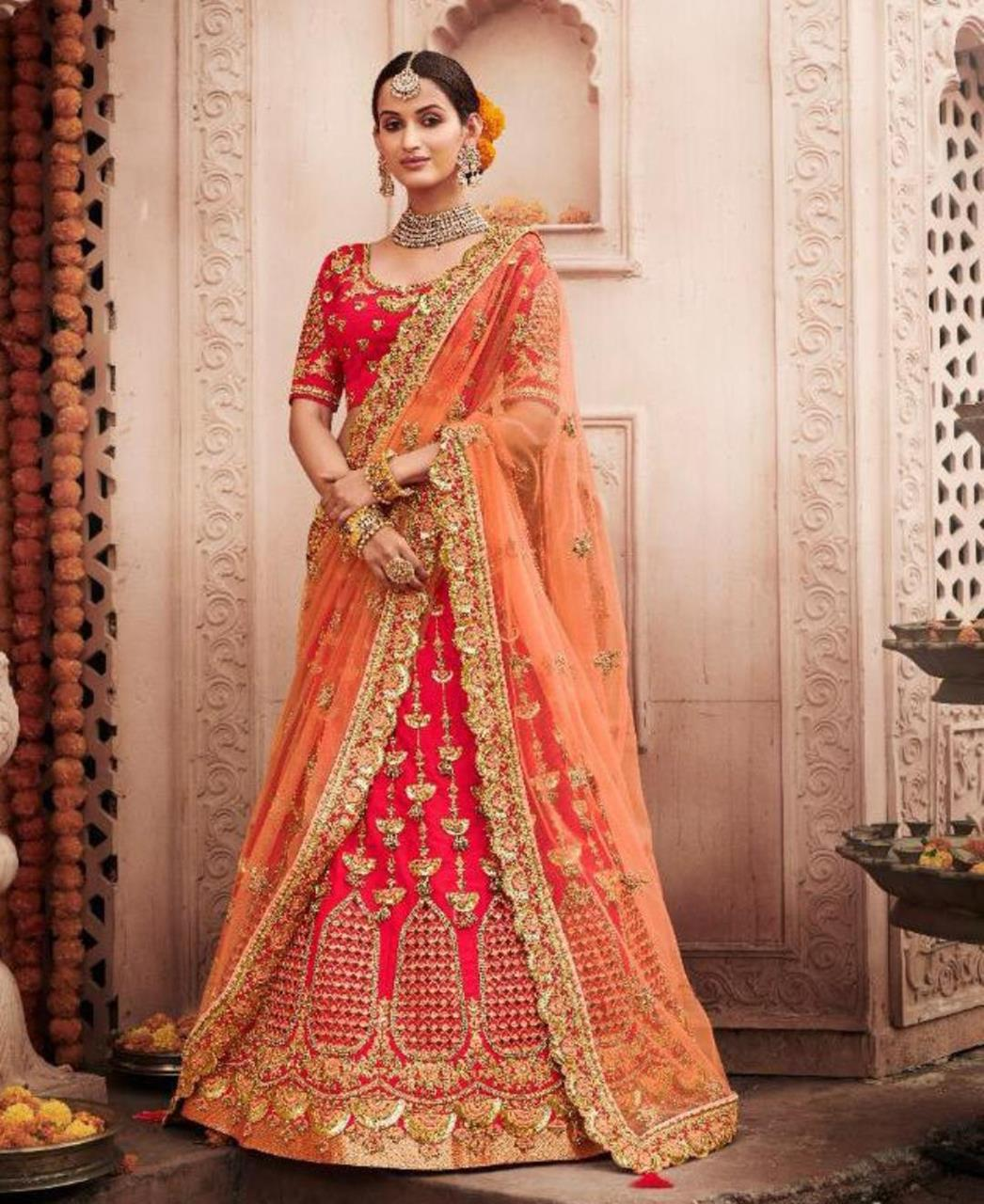Stone Work Silk Lehenga in Rani Pink