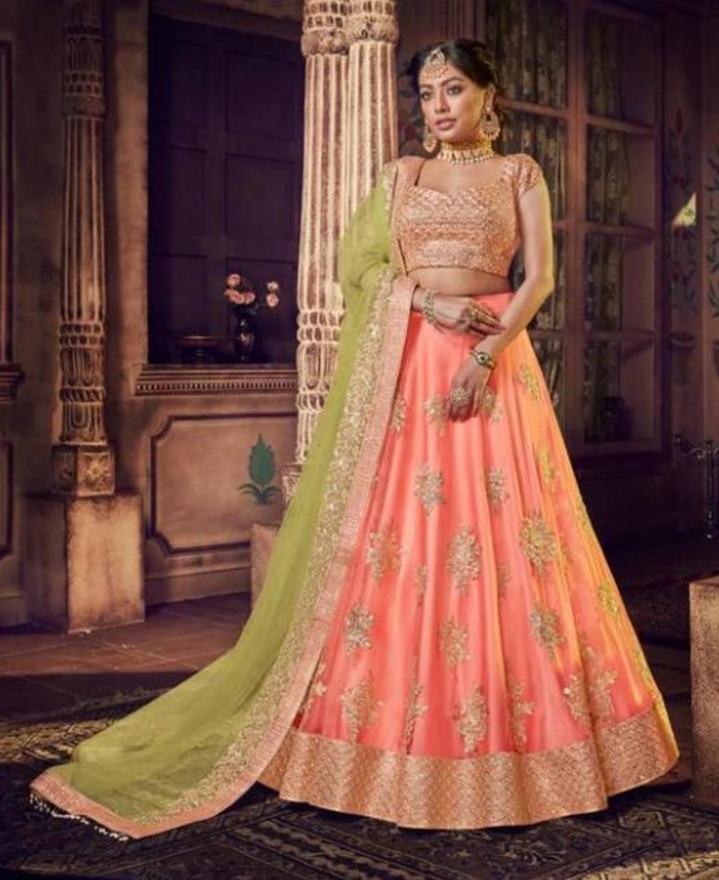 Stone Work Net Lehenga in Tectured Fabric