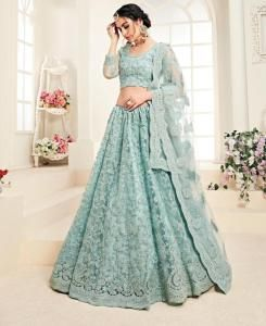 Embroidered Net SEAGREEN Circular Lehenga Choli