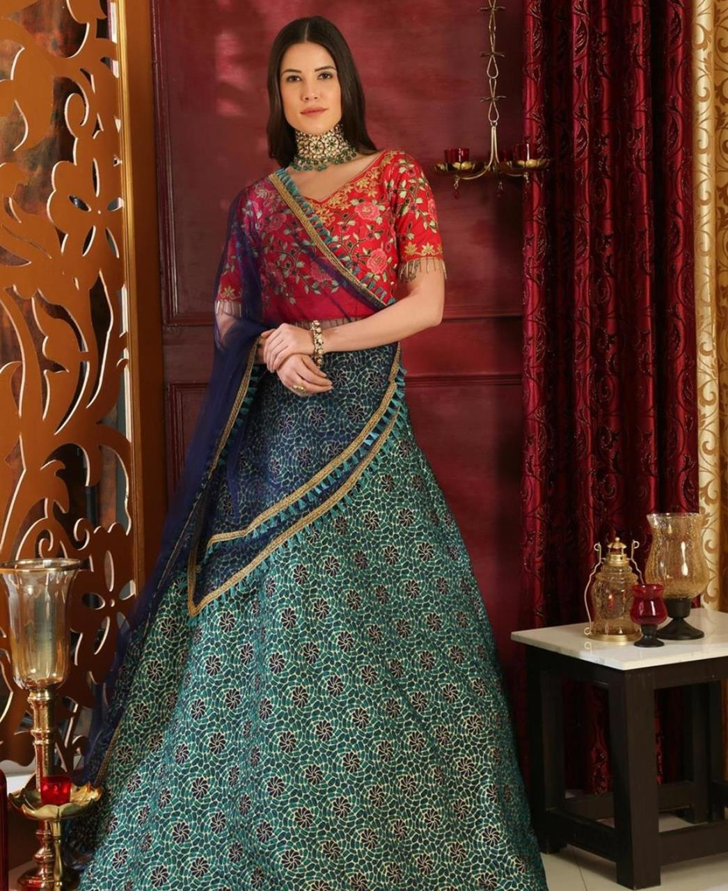 Embroidered Jacquard Green Circular Lehenga Choli Ghagra