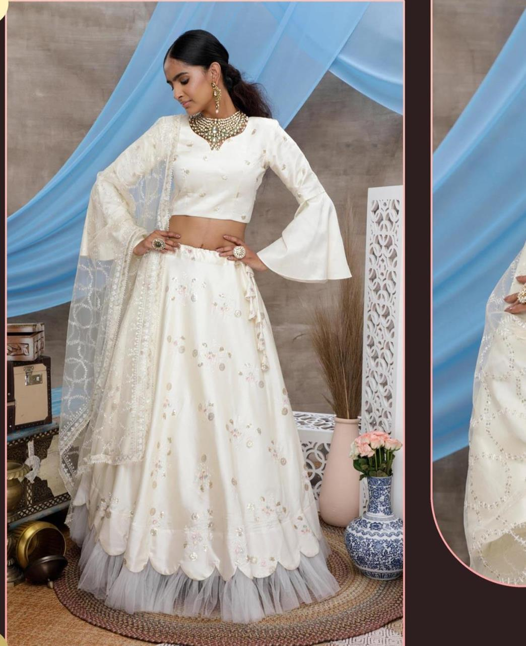 Thread Silk Lehenga in White