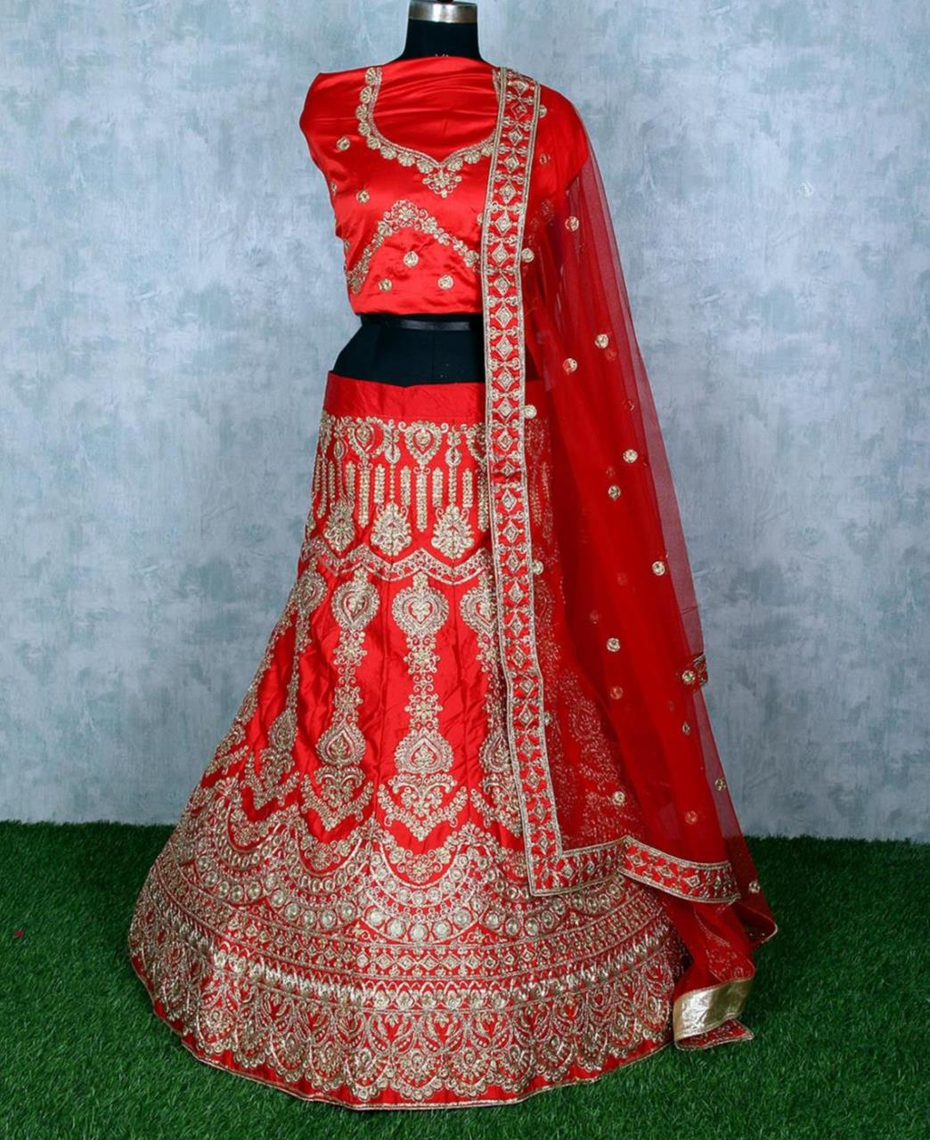 Stone Work Satin Lehenga in Red