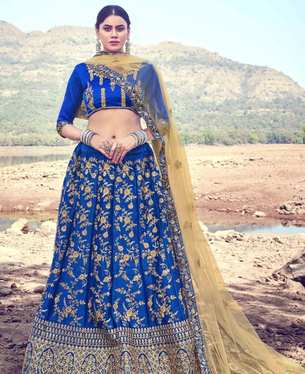 Zari Satin Lehenga in Blue