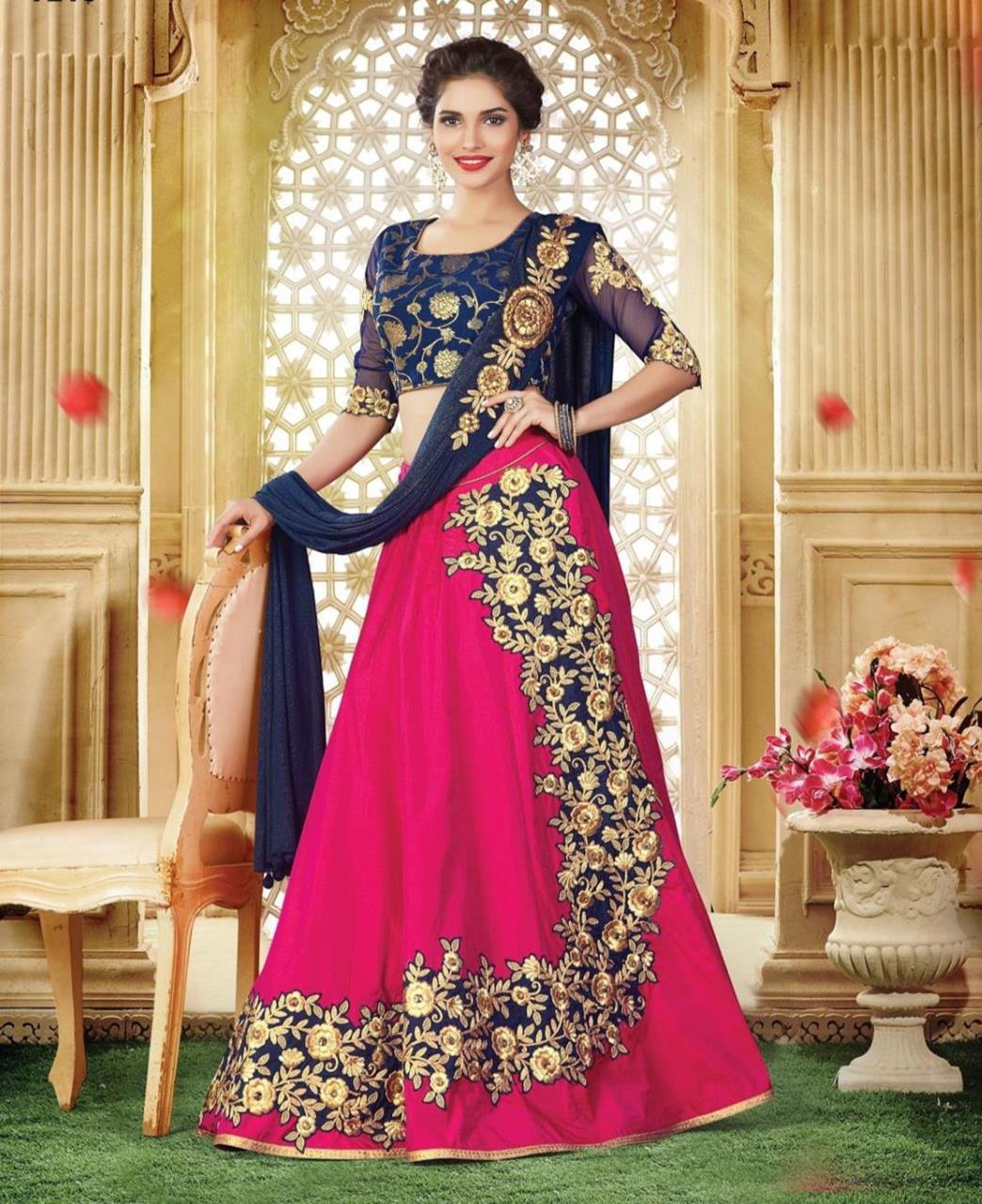 Embroidered Brocade Pink Long choli Lehenga Choli Ghagra