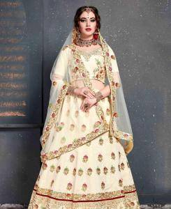 Sequins Silk Lehenga in Cream