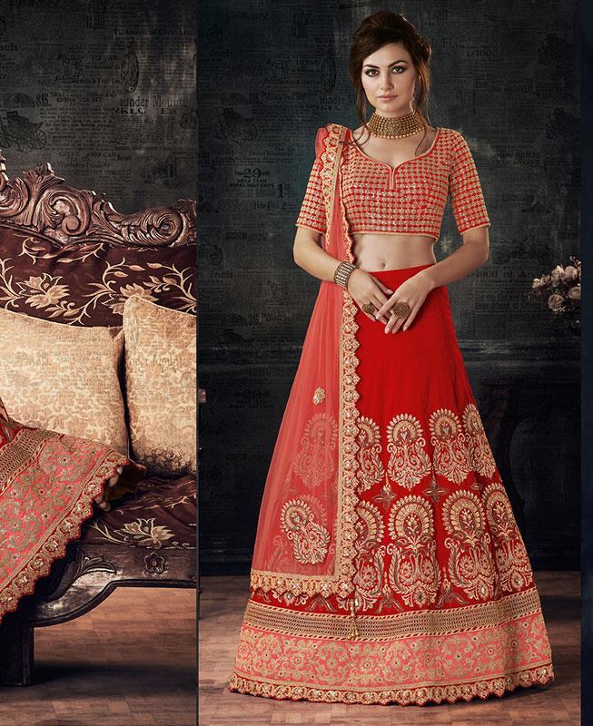 Zari Silk Red Circular Lehenga Choli Ghagra