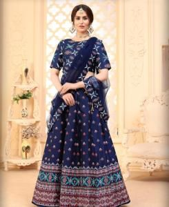 Printed Silk Lehenga in Nevy Blue