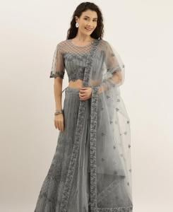 Net Lehenga in Grey