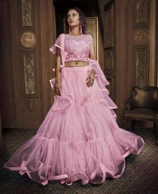 Patch Work Net Pink Circular Lehenga Choli