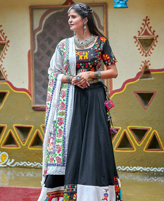 Embroidered Cotton Black Long choli Lehenga Choli