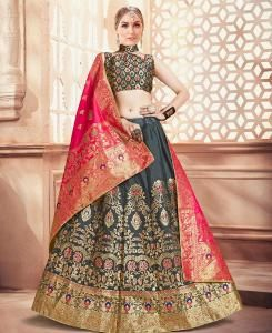 Silk Lehenga in Dark Grey
