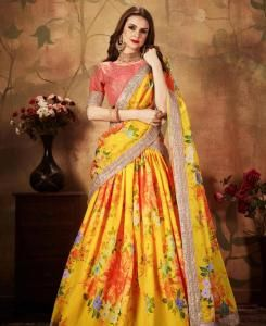Sequins Silk Lehenga in Yellow  ,  Orange