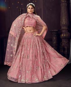 Thread Cotton Lehenga in Peach Pink