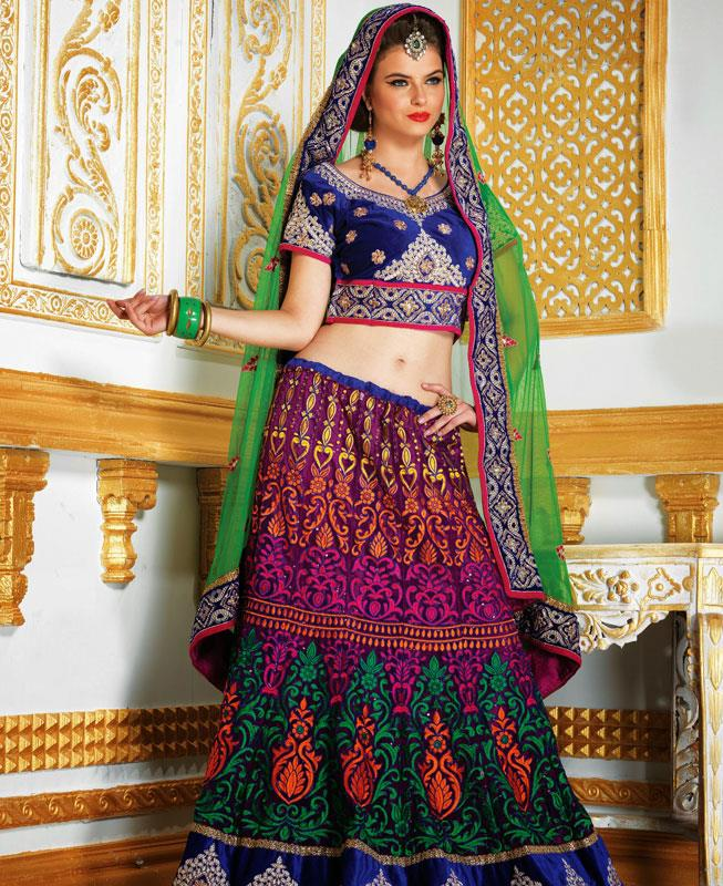 Embroidered Velvet Pink Long choli Lehenga Choli Ghagra