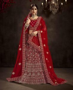 HandWorked Velvet Lehenga in Red