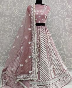 Thread Net Lehenga in Pink
