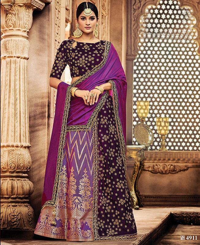 Embroidered Silk Purple Long choli Lehenga Choli Ghagra