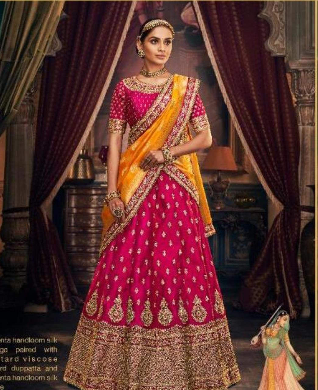 HandWorked Silk Lehenga in Magenta
