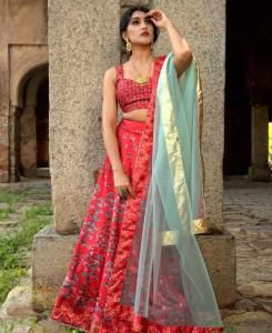 Printed Satin Lehenga in Red