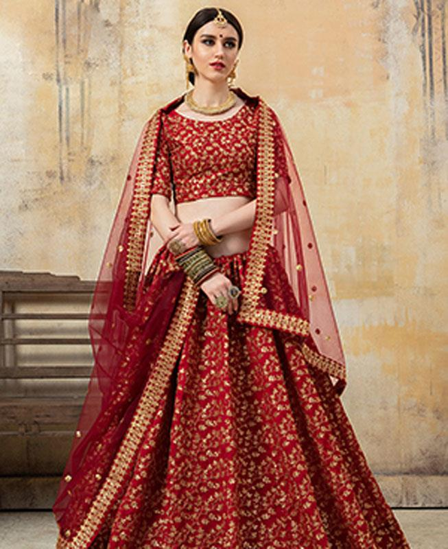 Sequins Art Silk Maroon Circular Lehenga Choli