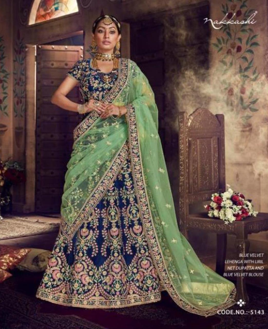 Stone Work Net Lehenga in Blue