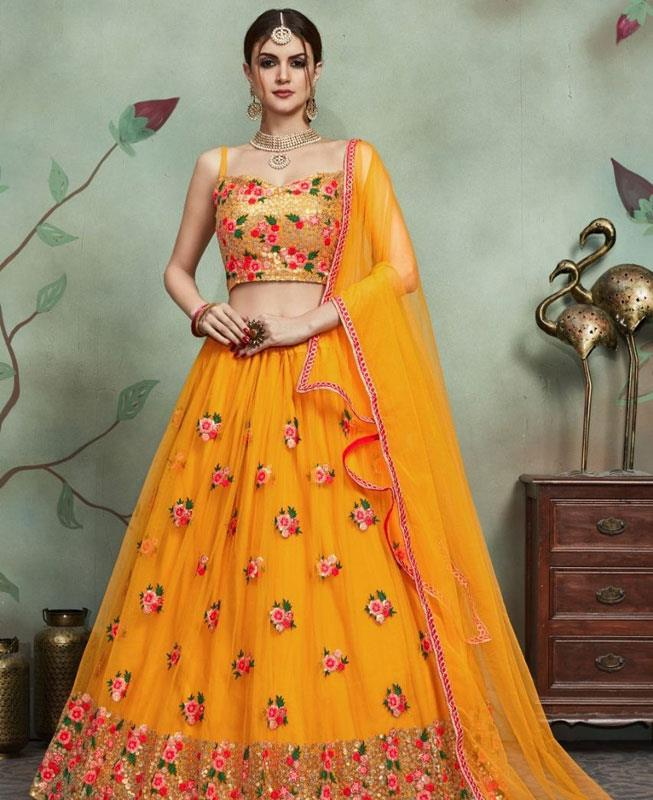 Embroidered Net Yellow Circular Lehenga Choli